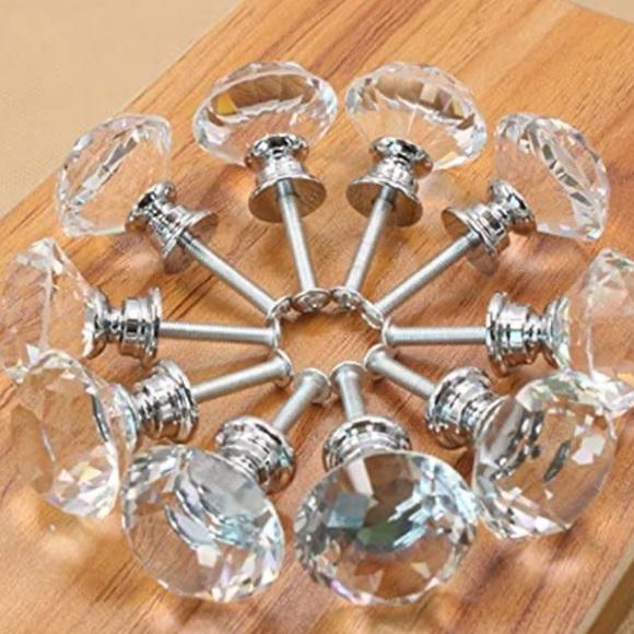 Princess Crystal Glass Diamond Cabinet Knobs
